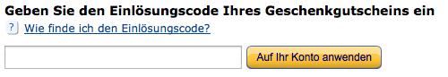 Amazon Einlösungscode