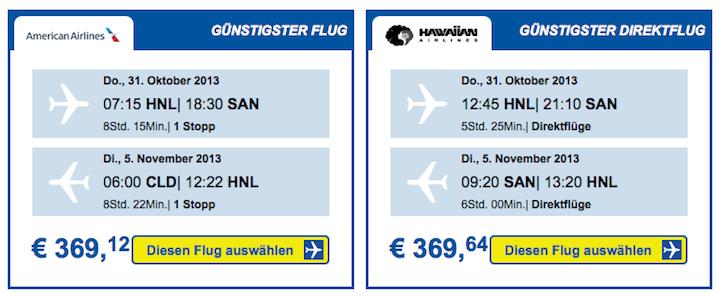 Cheaptickets.de zeigt die günstigen Flüge direkt oberhalb der Suchergebnisse an