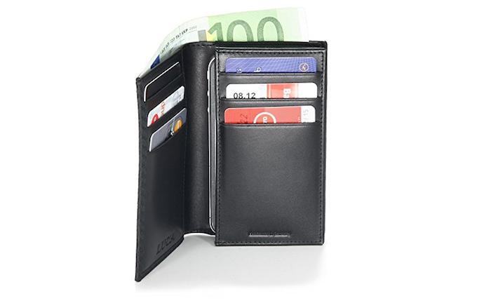 iPhone 6 Tasche aus Rindleder mit Kreditkartenfächer, Geldscheinfach und Parkscheinfach (89€)