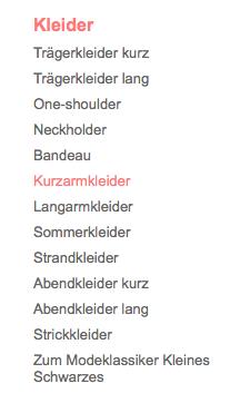 Kleider-Filter Navigation bei Bonprix