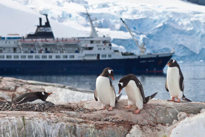 Bildnachweis: ©Klaas Köhne / iStock - Kreuzfahrtschiff und Gletscherwand