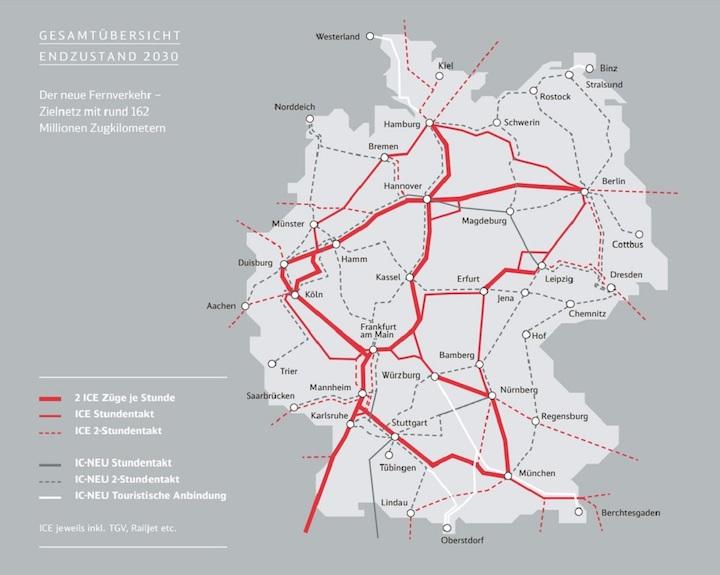 Der neue Fernverkehr - Zielnetz 2030 (Quelle: Deutsche Bahn)