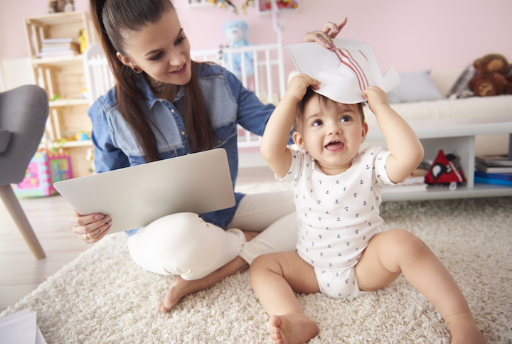 Im Homeoffice flexibel fuer die Kinder da sein |© panthermedia.net / Anna Bizo amp #324